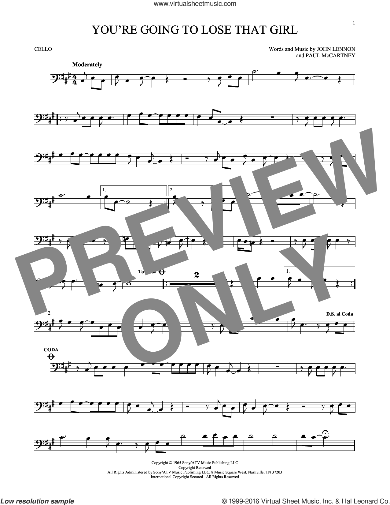 You're Going To Lose That Girl sheet music for cello solo by Paul McCartney, The Beatles and John Lennon. Score Image Preview.