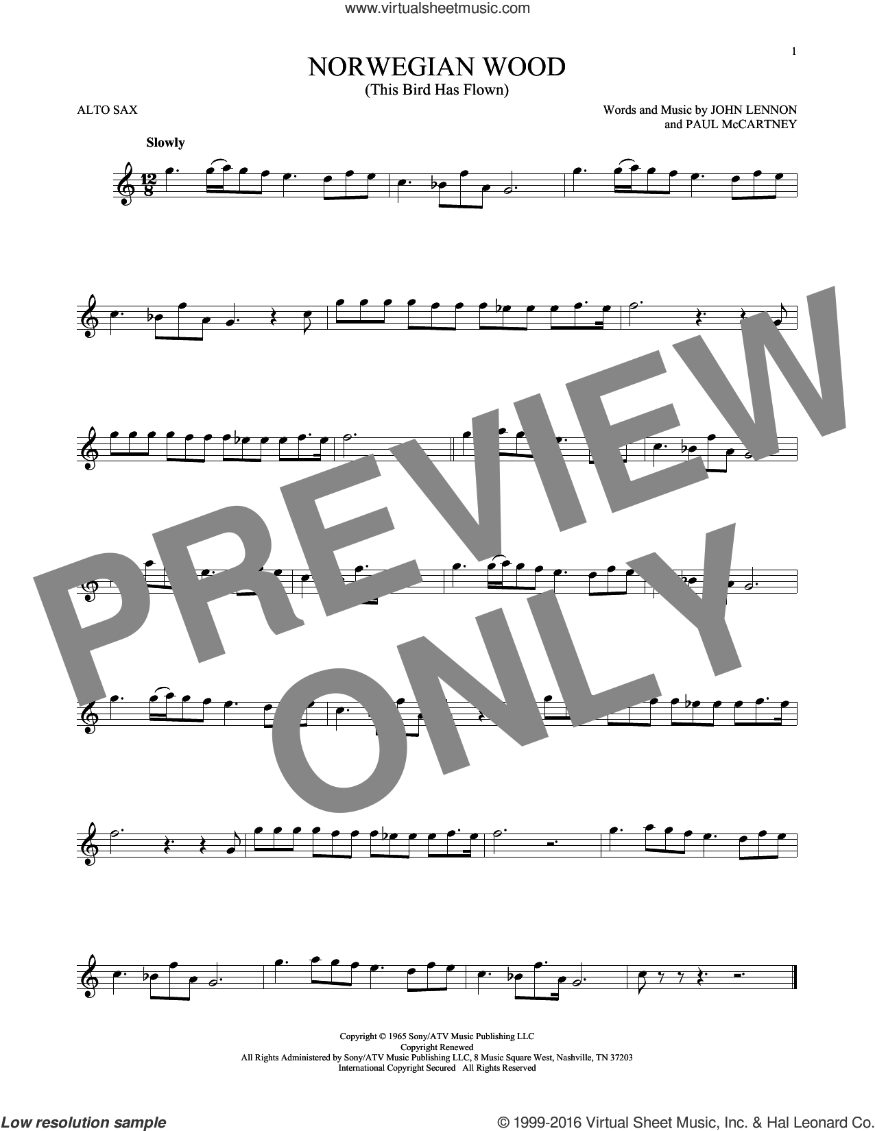 Norwegian Wood (This Bird Has Flown) sheet music for alto saxophone solo by Paul McCartney, The Beatles and John Lennon. Score Image Preview.