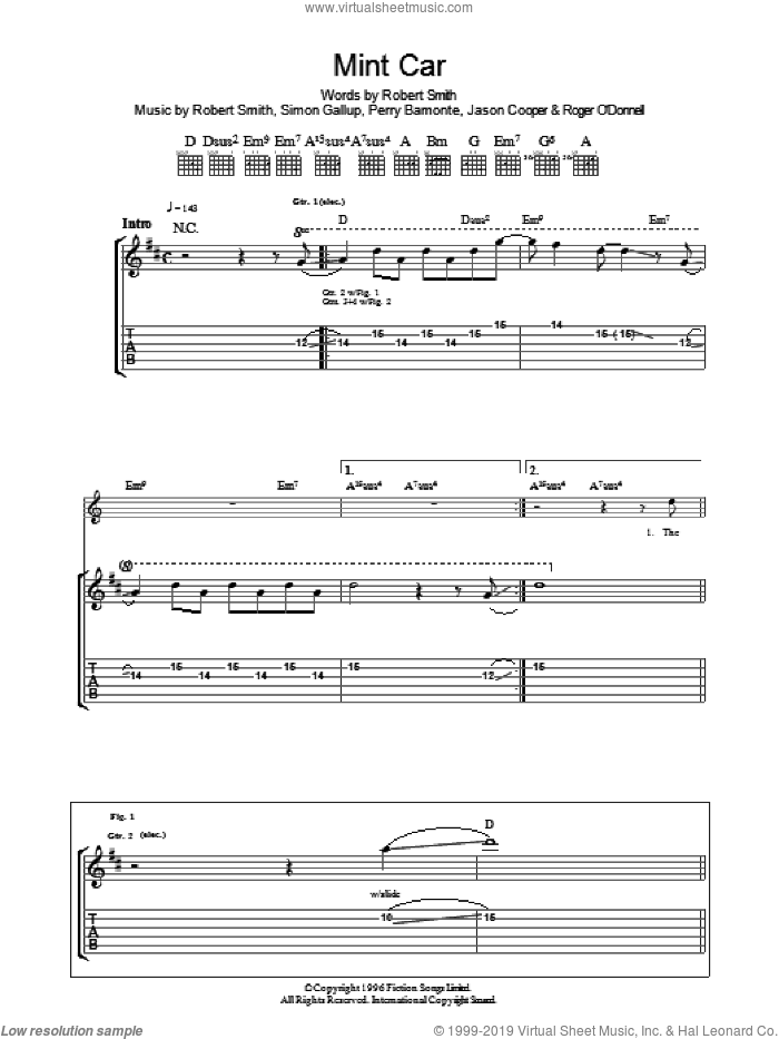 Mint Car sheet music for guitar (tablature) by Jason Cooper, The Cure, Perry Bamonte, Robert Smith and Simon Gallup. Score Image Preview.