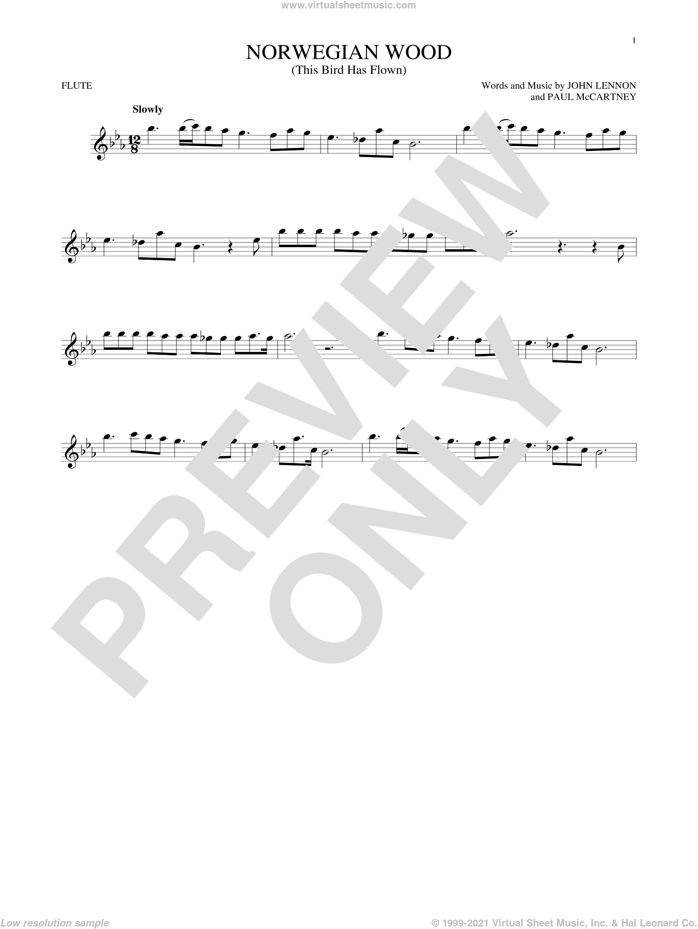 Norwegian Wood (This Bird Has Flown) sheet music for flute solo by The Beatles, John Lennon and Paul McCartney. Score Image Preview.