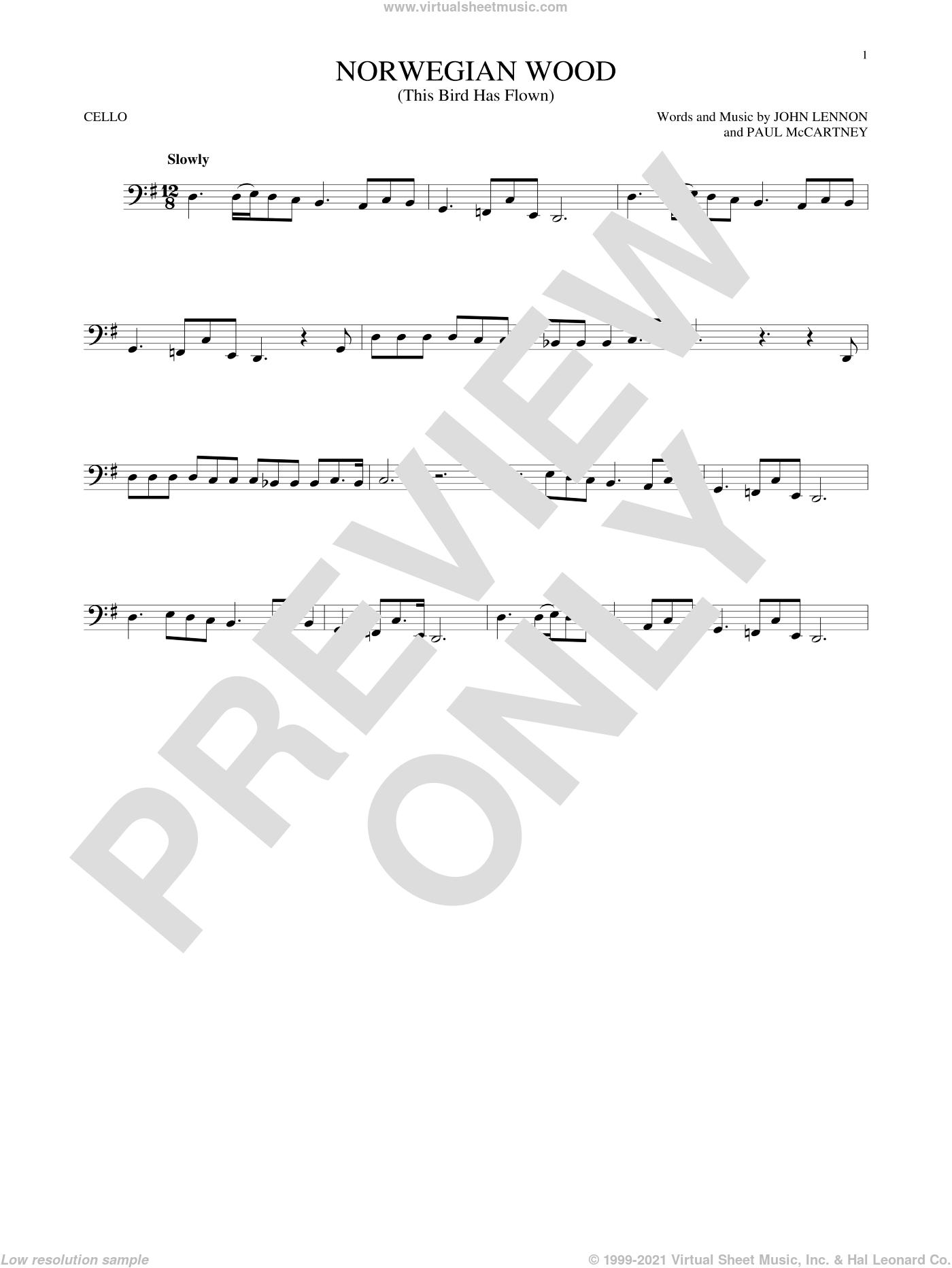 Norwegian Wood (This Bird Has Flown) sheet music for cello solo by The Beatles, John Lennon and Paul McCartney, intermediate skill level
