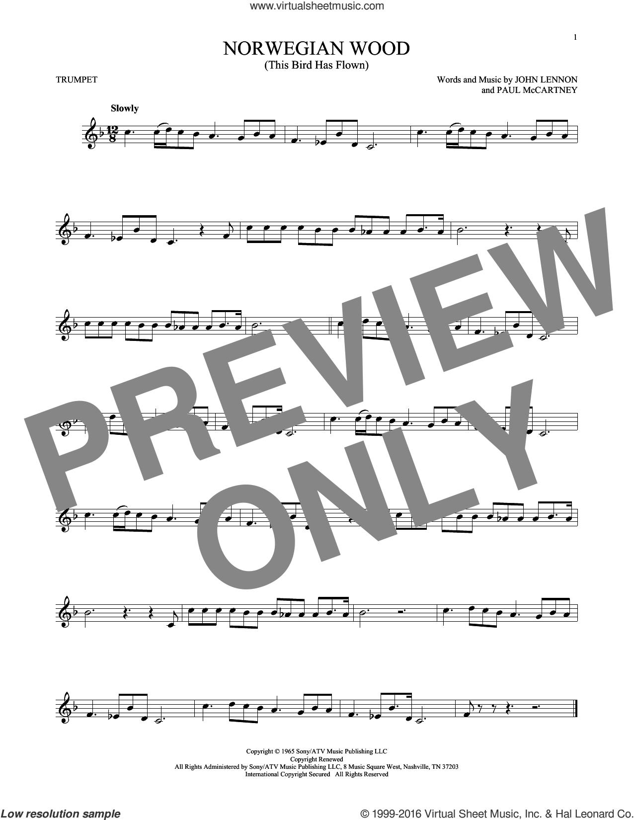 Norwegian Wood (This Bird Has Flown) sheet music for trumpet solo by The Beatles, John Lennon and Paul McCartney, intermediate skill level