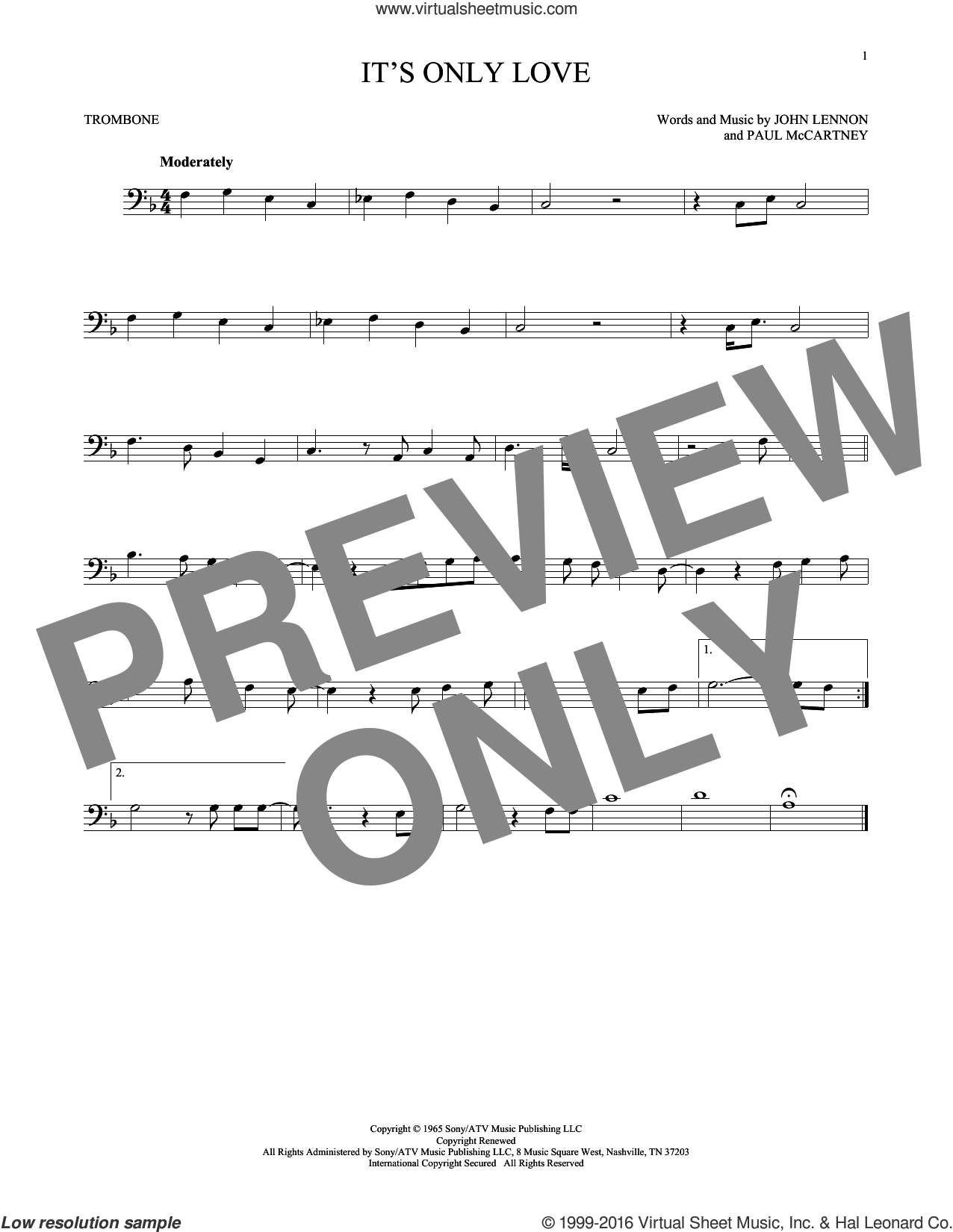 It's Only Love sheet music for trombone solo by The Beatles, John Lennon and Paul McCartney. Score Image Preview.