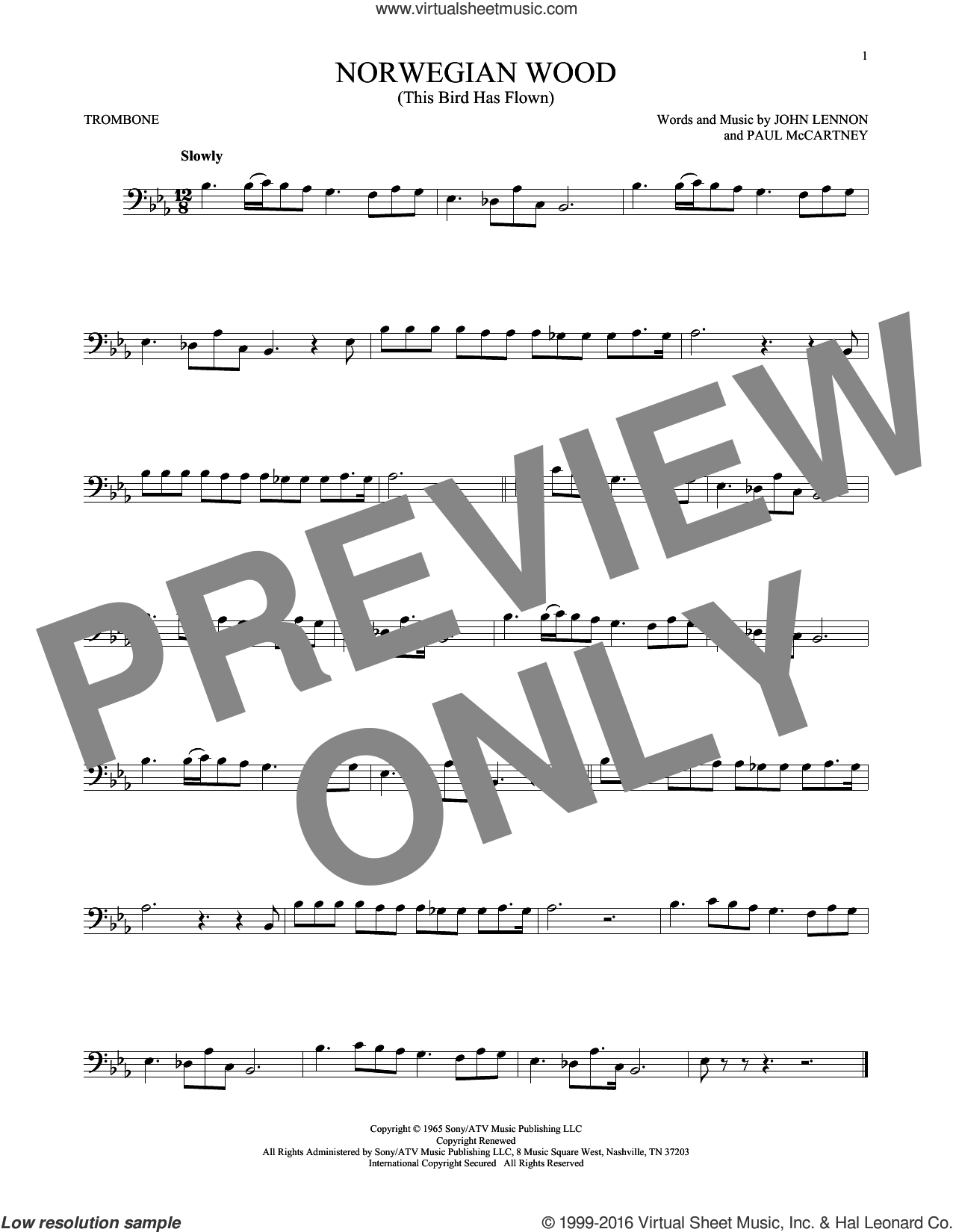 Norwegian Wood (This Bird Has Flown) sheet music for trombone solo by The Beatles, John Lennon and Paul McCartney. Score Image Preview.