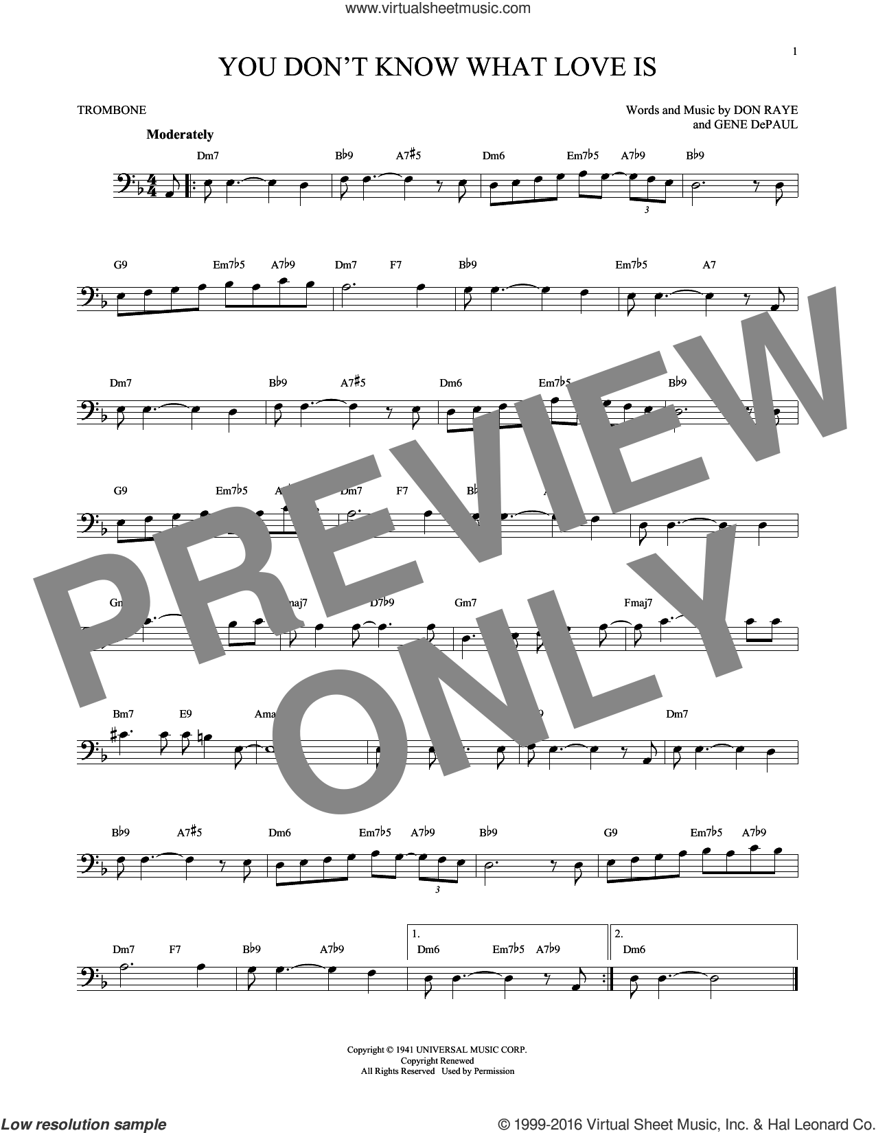You Don't Know What Love Is sheet music for trombone solo by Carol Bruce, Don Raye and Gene DePaul, intermediate
