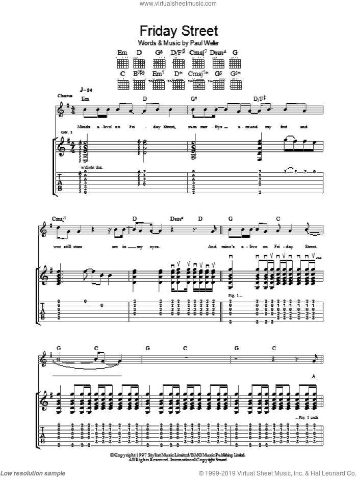 Friday Street sheet music for guitar (tablature) by Paul Weller, intermediate. Score Image Preview.