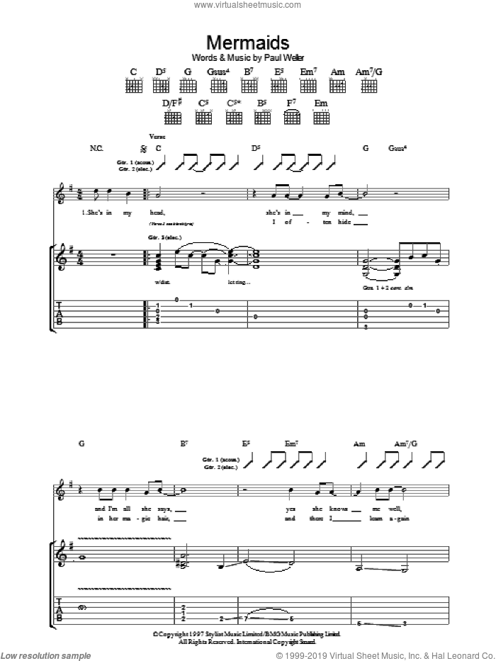 Mermaids sheet music for guitar (tablature) by Paul Weller, intermediate skill level