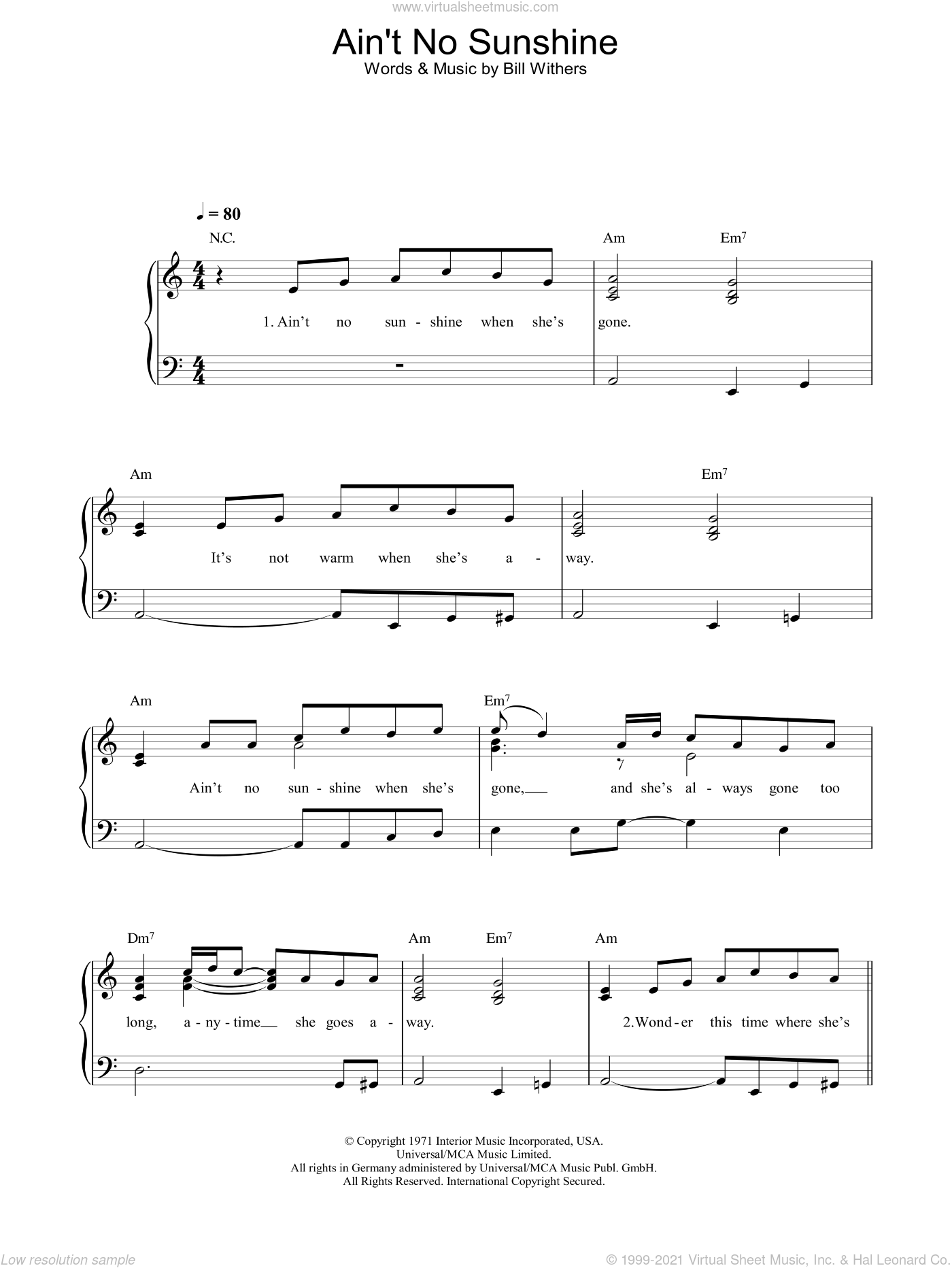 Withers Aint No Sunshine Sheet Music Easy For Piano Solo