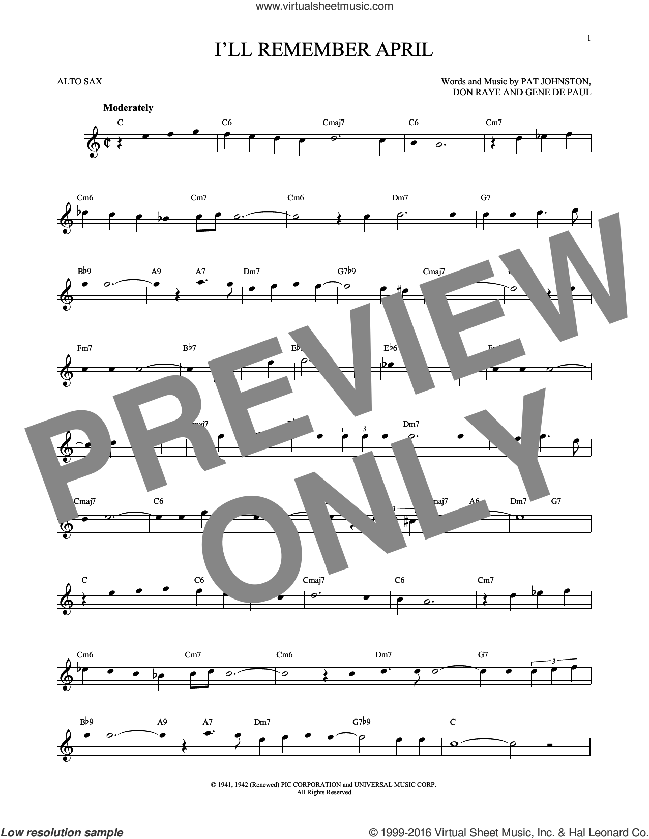 I'll Remember April sheet music for alto saxophone solo by Woody Herman & His Orchestra, Don Raye and Gene DePaul, intermediate alto saxophone. Score Image Preview.
