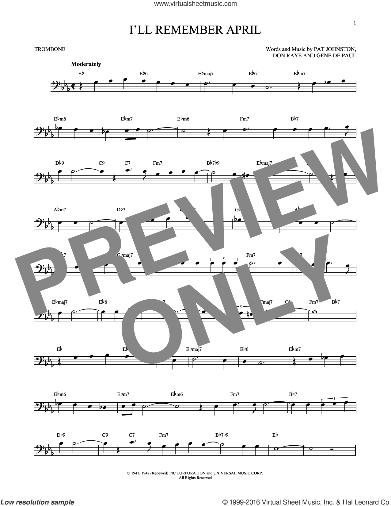 I'll Remember April sheet music for trombone solo by Woody Herman & His Orchestra, Don Raye, Gene DePaul and Pat Johnston, intermediate skill level