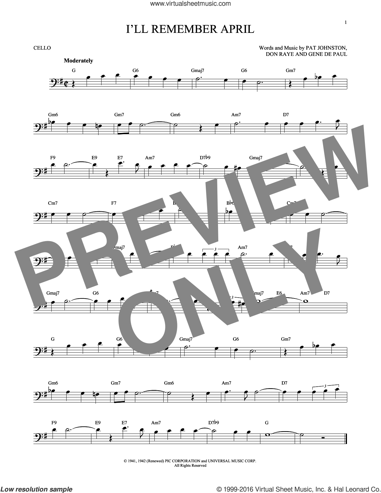 I'll Remember April sheet music for cello solo by Woody Herman & His Orchestra, Don Raye and Gene DePaul, intermediate. Score Image Preview.