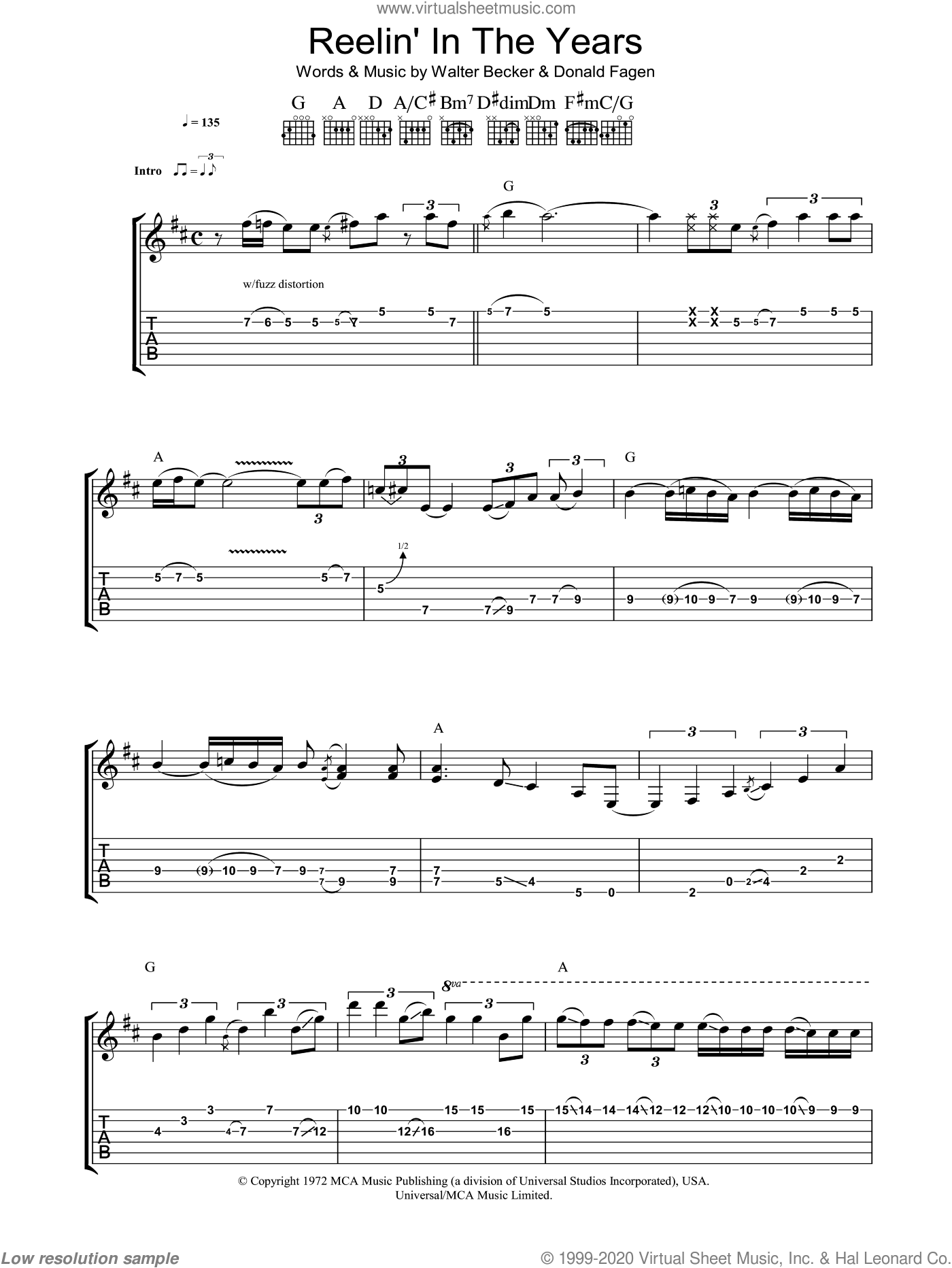 Reelin' In The Years sheet music for guitar (tablature) by Donald Fagen and Steely Dan. Score Image Preview.