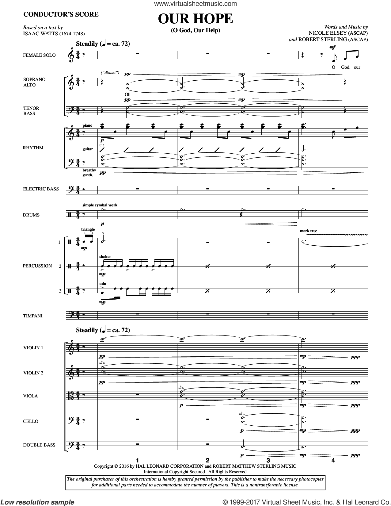 Our Hope (COMPLETE) sheet music for orchestra/band by Isaac Watts, Nicole Elsey and Robert Sterling, intermediate. Score Image Preview.