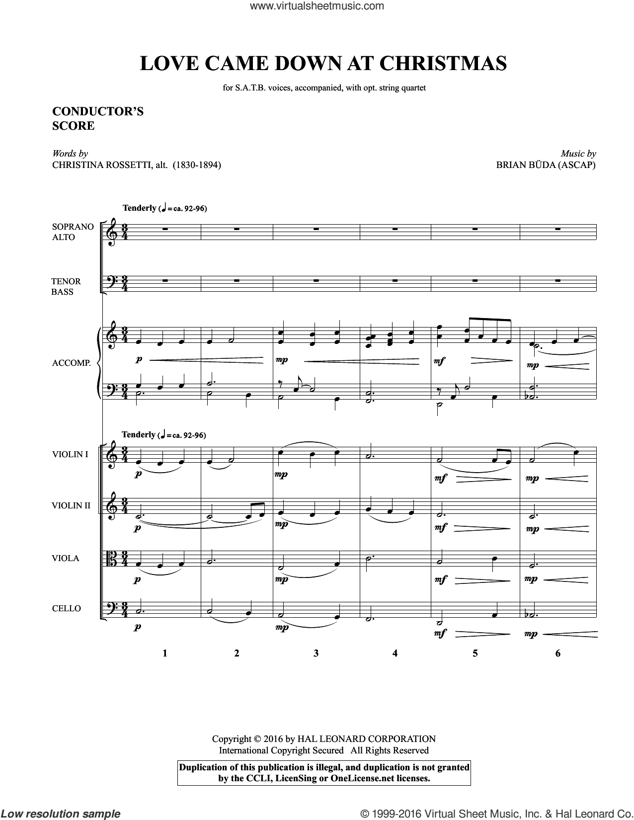 Love Came Down at Christmas sheet music for orchestra/band (Strings) by Brian Buda and Christina Rossetti, intermediate. Score Image Preview.