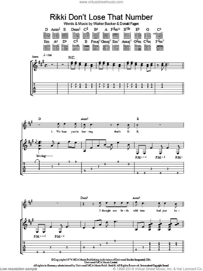 Rikki Don't Lose That Number sheet music for guitar (tablature) by Steely Dan, Donald Fagen and Walter Becker, intermediate skill level