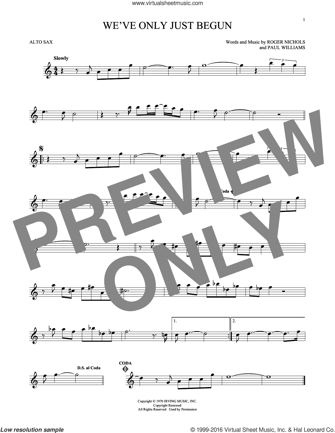 We've Only Just Begun sheet music for alto saxophone solo by Paul Williams, Carpenters and Roger Nichols, intermediate skill level