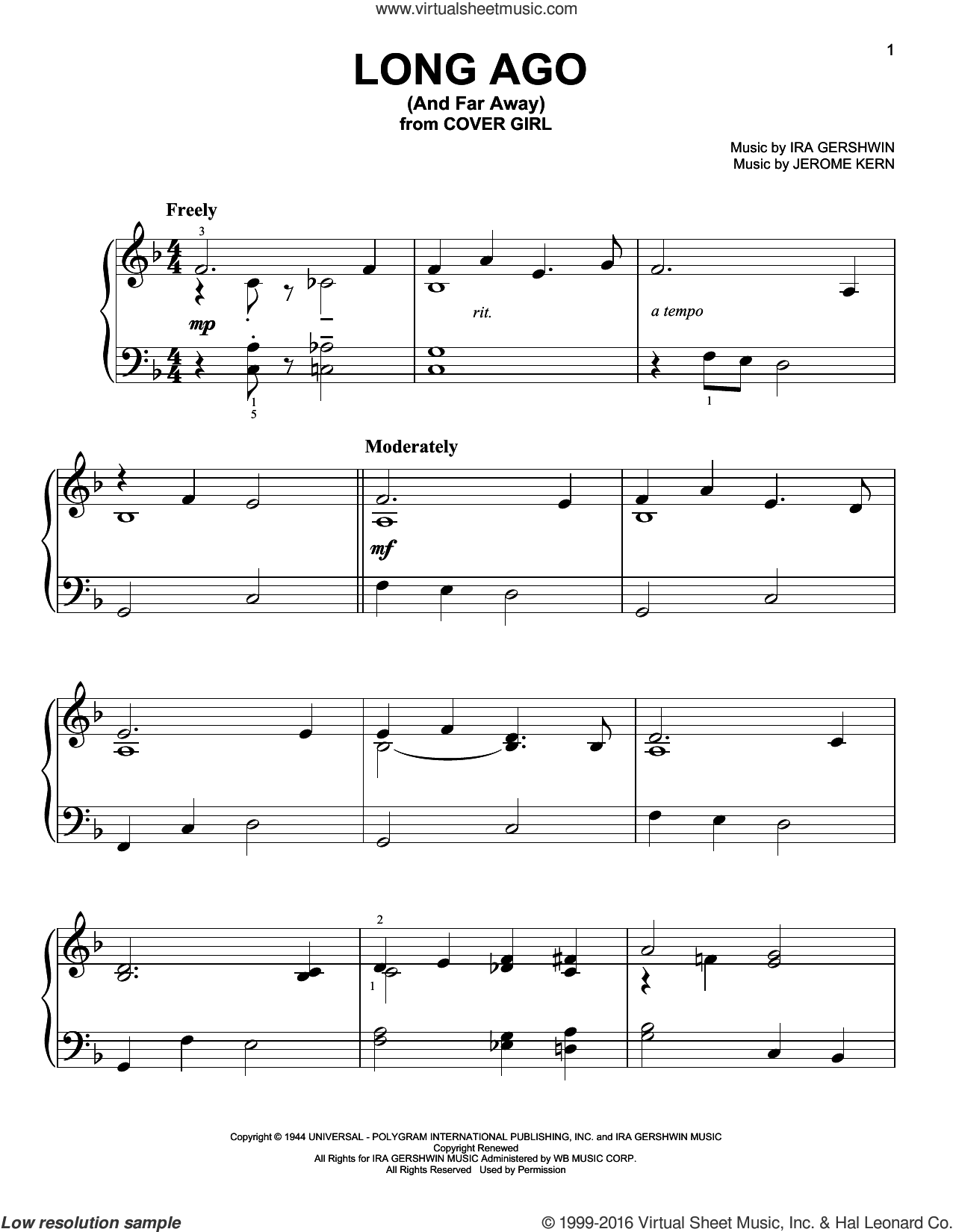 Long Ago (And Far Away) sheet music for piano solo by Ira Gershwin and Jerome Kern, easy piano. Score Image Preview.