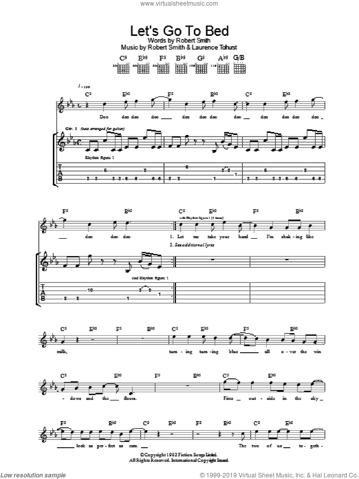 Let's Go To Bed sheet music for guitar (tablature) by Laurence Tolhurst, The Cure and Robert Smith. Score Image Preview.