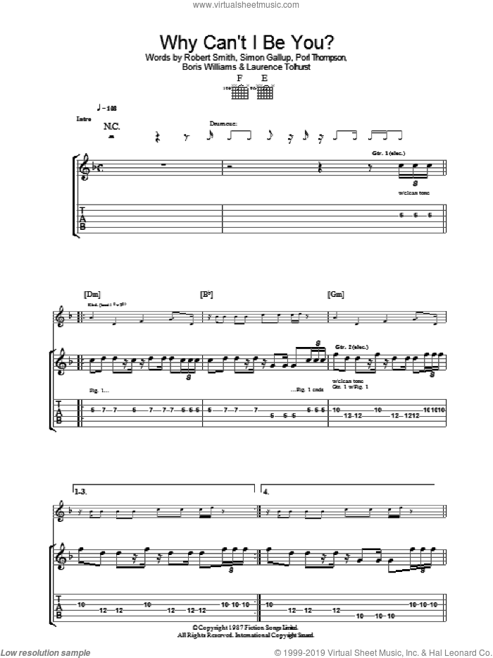 Why Can't I Be You? sheet music for guitar (tablature) by The Cure, Boris Williams, Laurence Tolhurst, Porl Thompson, Robert Smith and Simon Gallup, intermediate skill level