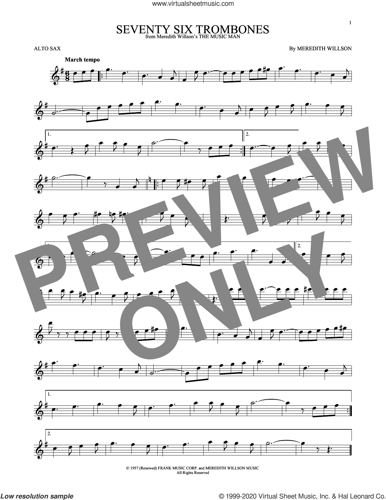 Seventy Six Trombones sheet music for alto saxophone solo by Meredith Willson, intermediate skill level