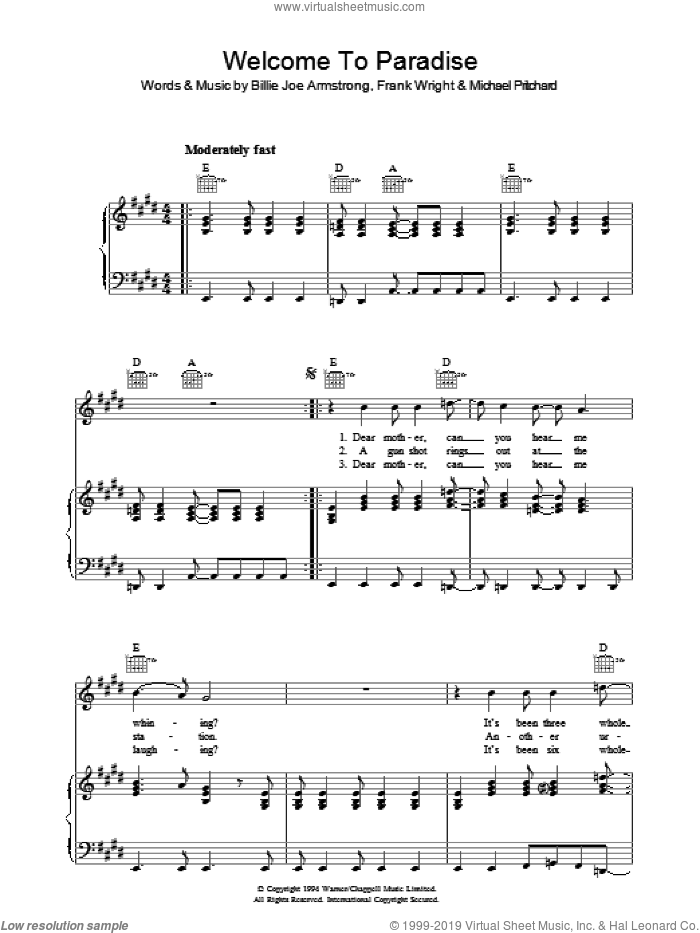 Welcome To Paradise sheet music for voice, piano or guitar by Green Day, Billie Joe Armstrong, Frank Wright and Mike Pritchard, intermediate. Score Image Preview.