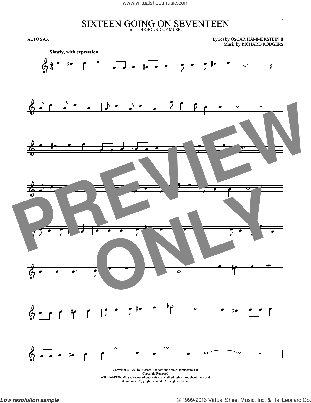 Sixteen Going On Seventeen sheet music for alto saxophone solo by Oscar II Hammerstein, Rodgers & Hammerstein and Richard Rodgers. Score Image Preview.