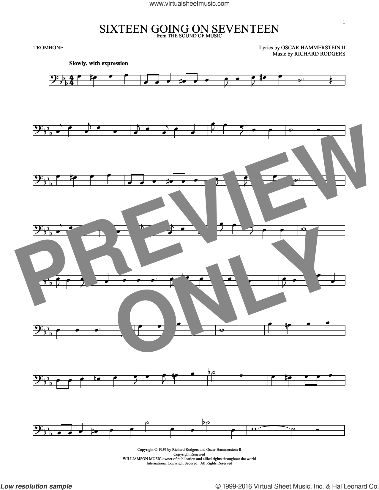 Sixteen Going On Seventeen sheet music for trombone solo by Rodgers & Hammerstein, Oscar II Hammerstein and Richard Rodgers, intermediate skill level