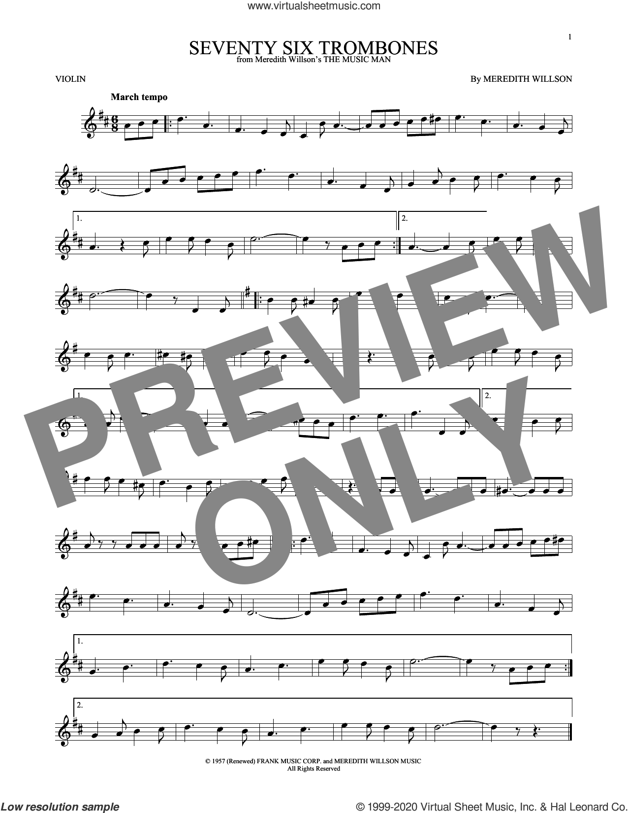 Seventy Six Trombones sheet music for violin solo by Meredith Willson, intermediate skill level