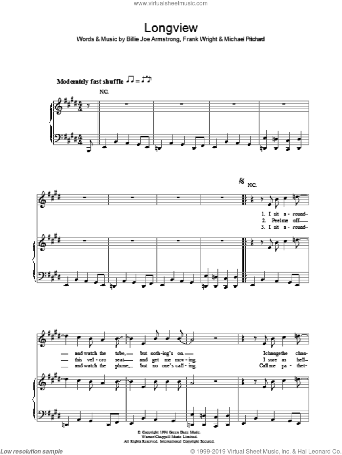 Longview sheet music for voice, piano or guitar by Billie Joe Armstrong, Green Day, Frank Wright and Mike Pritchard