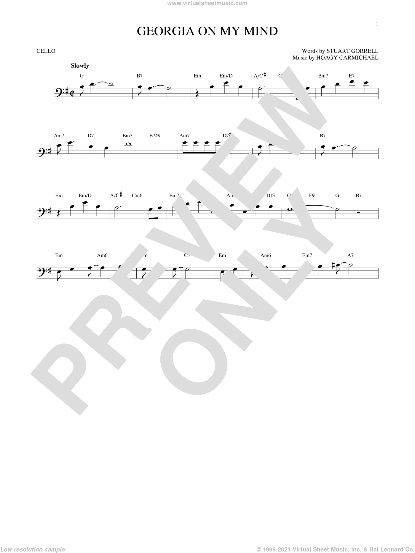 Georgia On My Mind sheet music for cello solo by Hoagy Carmichael, Ray Charles, Willie Nelson and Stuart Gorrell. Score Image Preview.