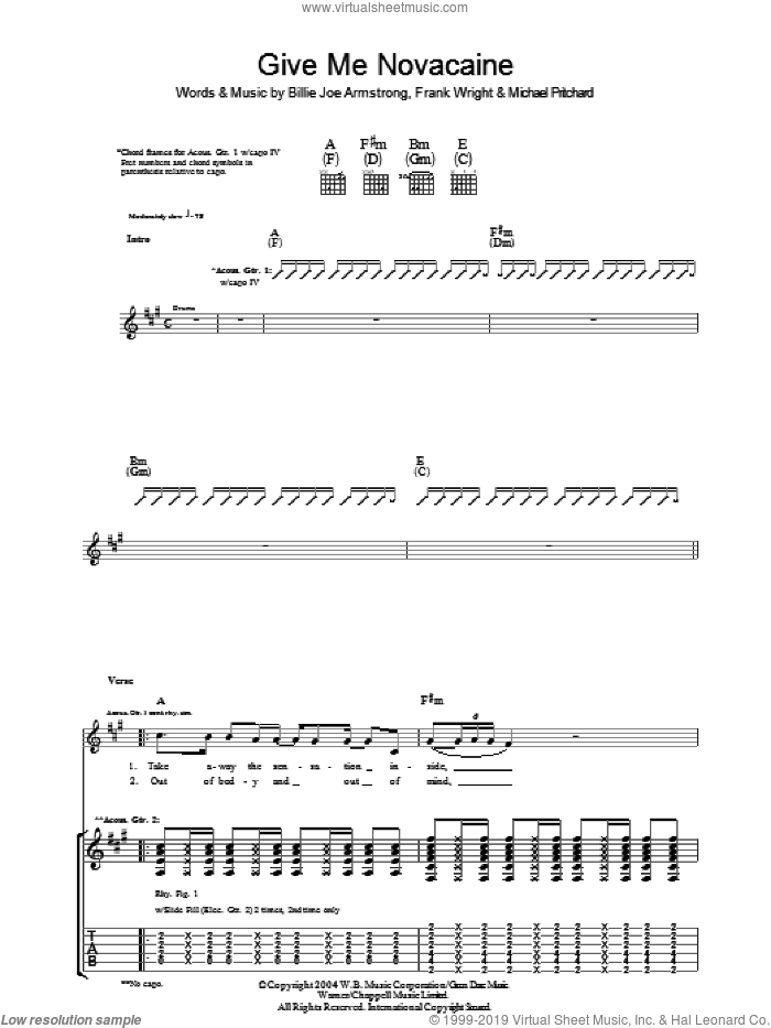 Give Me Novacaine sheet music for guitar (tablature) by Green Day, Billie Joe Armstrong, Frank Wright and Mike Pritchard. Score Image Preview.