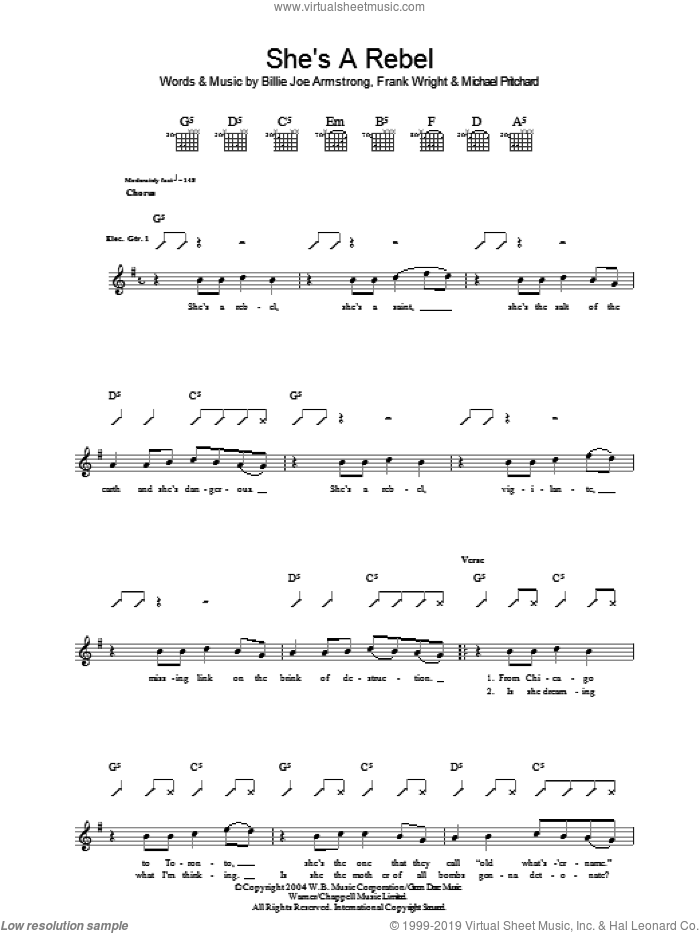 She's A Rebel sheet music for guitar (tablature) by Green Day, Billie Joe Armstrong, Frank Wright and Mike Pritchard. Score Image Preview.