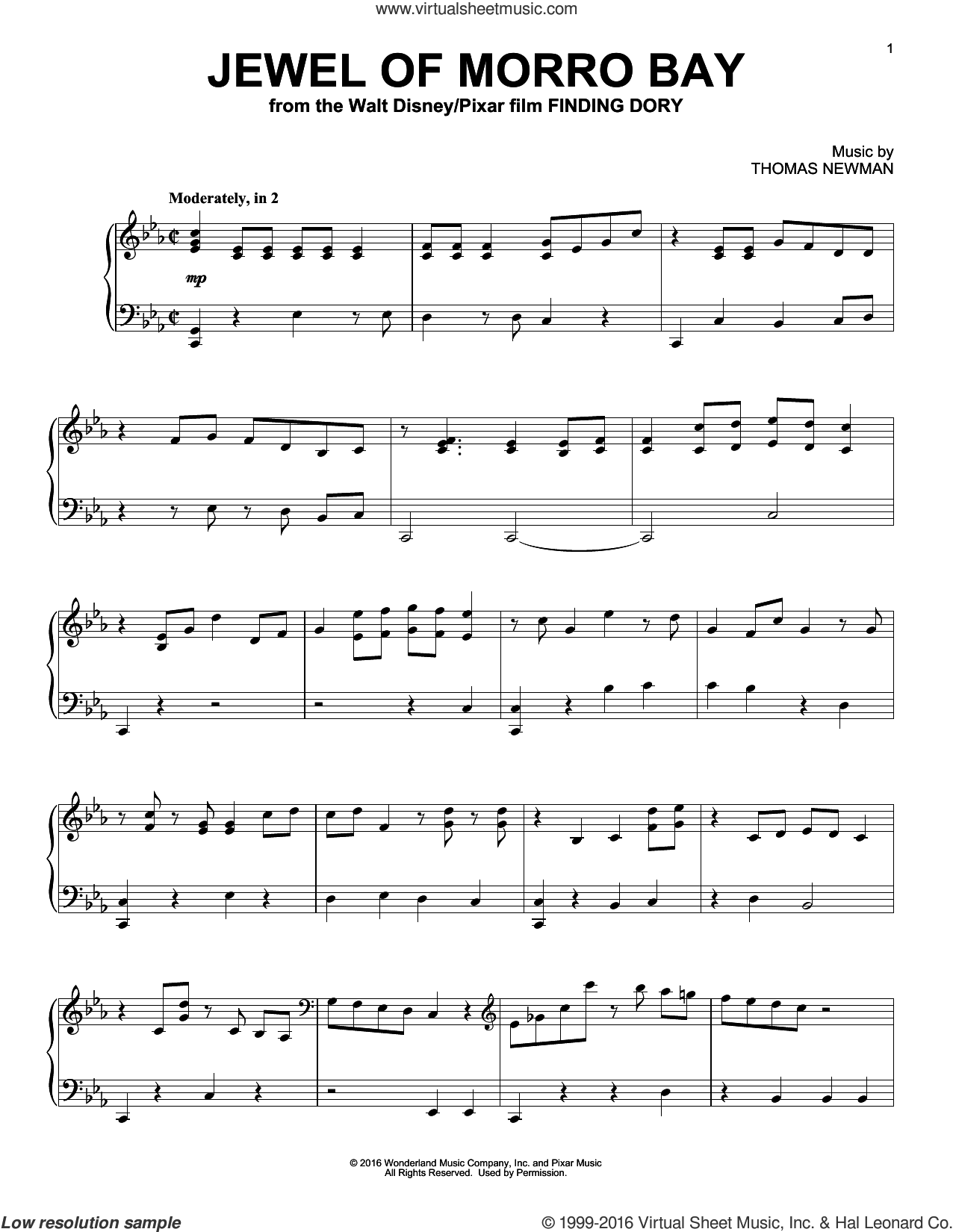 Jewel Of Morro Bay (from Finding Dory) sheet music for piano solo by Thomas Newman, intermediate skill level