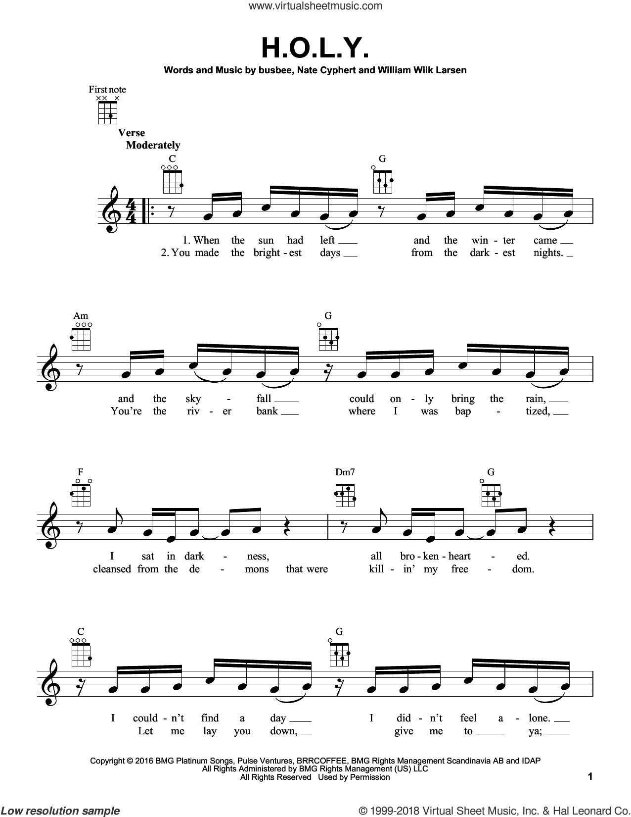 H.O.L.Y. sheet music for ukulele by William Wiik Larsen, Florida Georgia Line and busbee. Score Image Preview.