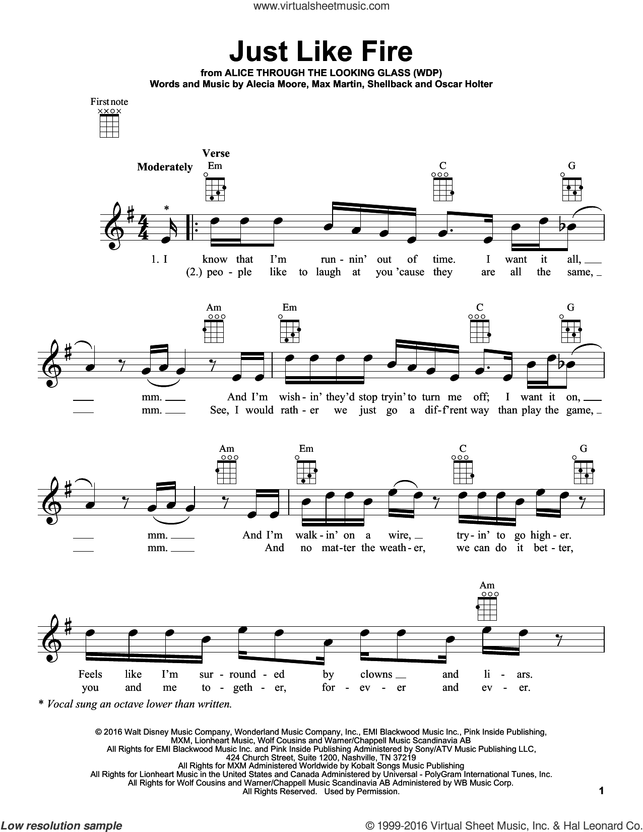 Just Like Fire sheet music for ukulele by Shellback, Miscellaneous, Alecia Moore, Johan Schuster, Max Martin and Oscar Holter. Score Image Preview.