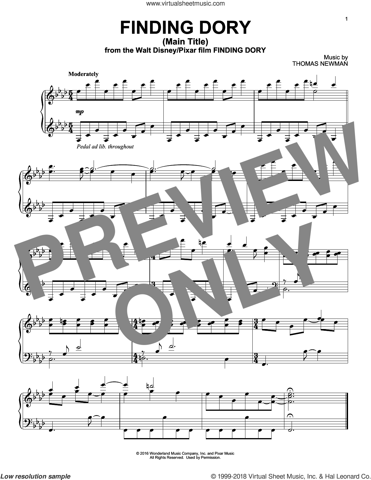 Finding Dory (Main Title), (intermediate) sheet music for piano solo by Thomas Newman, intermediate skill level