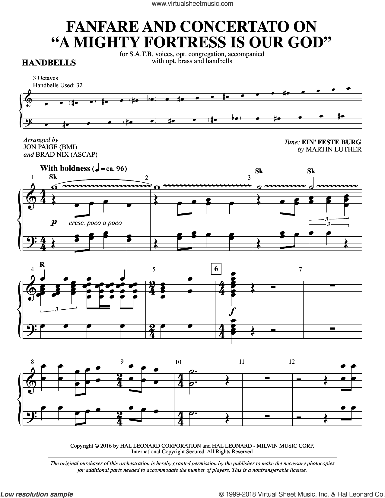 Fanfare and Concertato on A Mighty Fortress Is Our God sheet music for orchestra/band (handbells) by Martin Luther, Brad Nix, Jon Paige, Frederick H. Hedge and Miscellaneous, intermediate skill level