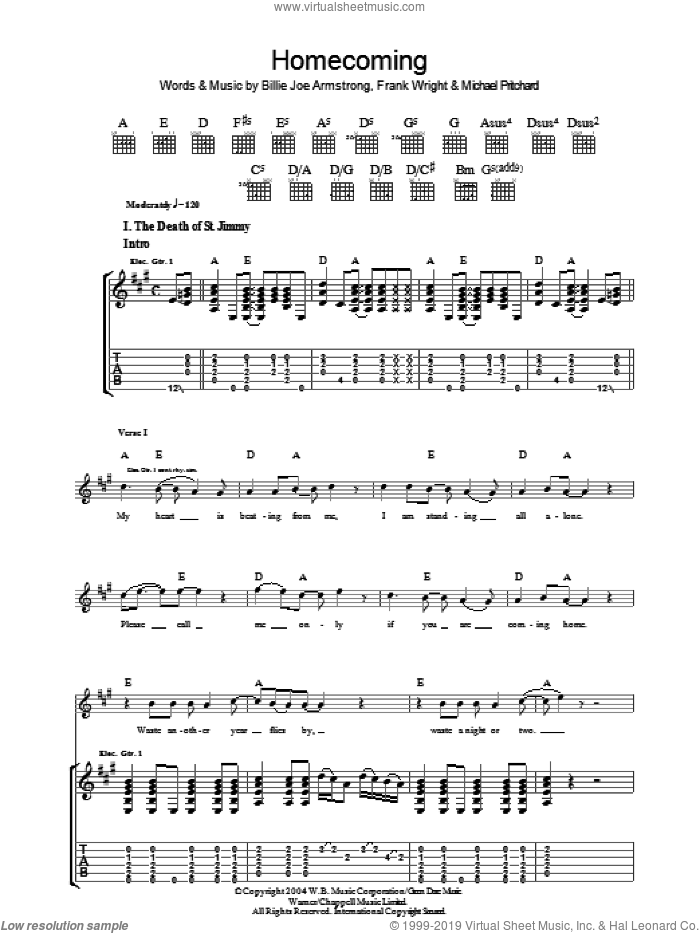 Homecoming sheet music for guitar (tablature) by Billie Joe Armstrong, Green Day, Frank Wright and Mike Pritchard. Score Image Preview.