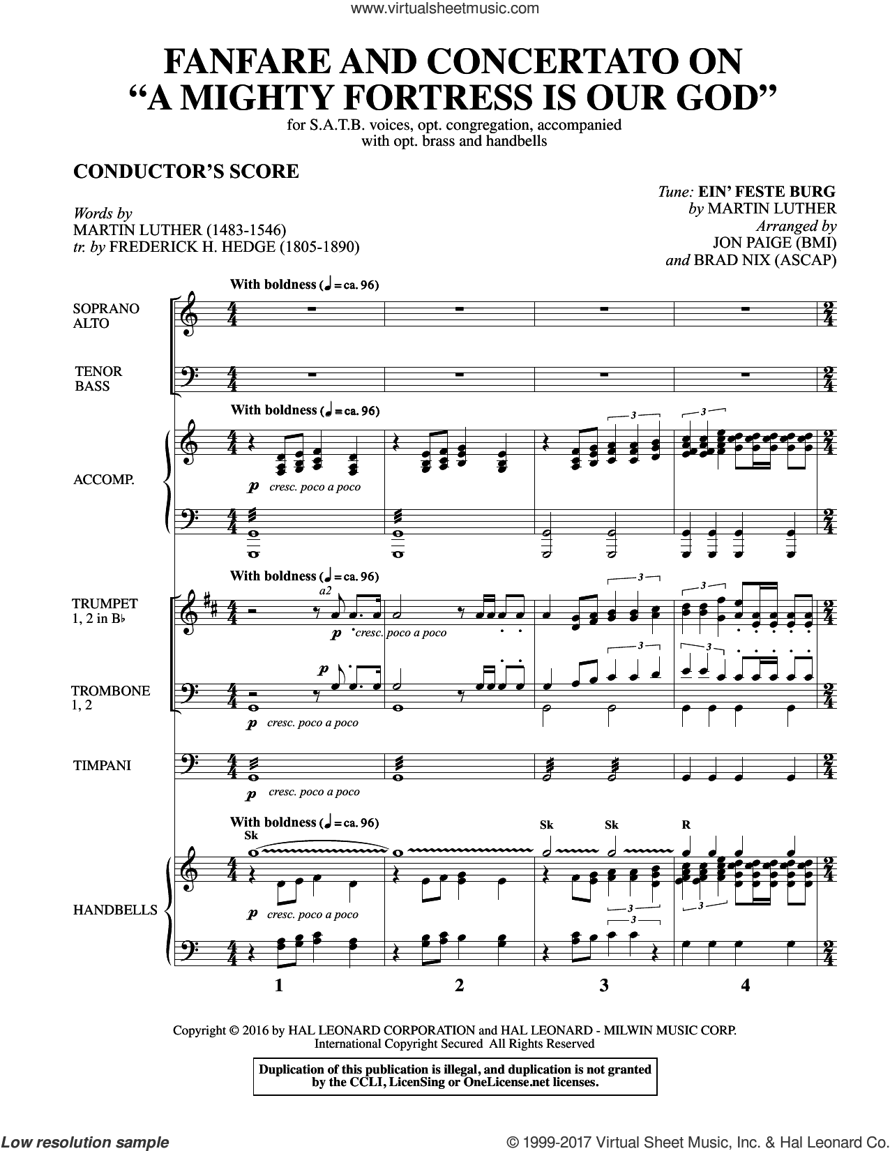 Fanfare and Concertato on A Mighty Fortress Is Our God (COMPLETE) sheet music for orchestra/band by Brad Nix, Frederick H. Hedge, Jon Paige, Martin Luther and Miscellaneous, intermediate skill level