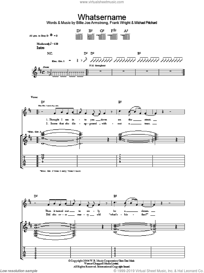 Whatsername sheet music for guitar (tablature) by Green Day, Billie Joe Armstrong, Frank Wright and Mike Pritchard. Score Image Preview.