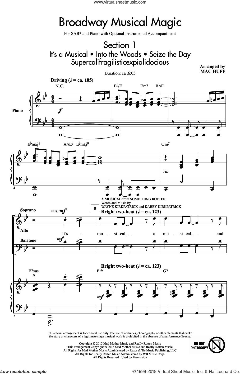 Broadway Musical Magic sheet music for choir and piano (SAB) by Jonathan Larson and Mac Huff. Score Image Preview.