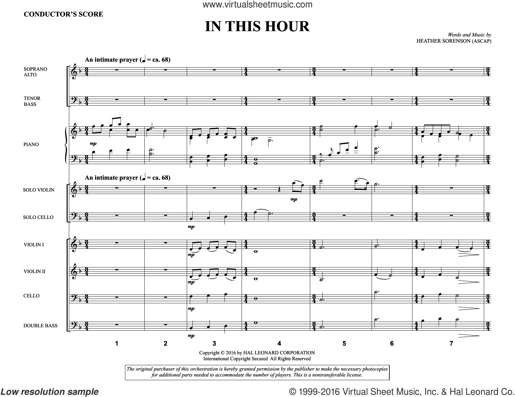 In This Hour (COMPLETE) sheet music for orchestra by Heather Sorenson. Score Image Preview.