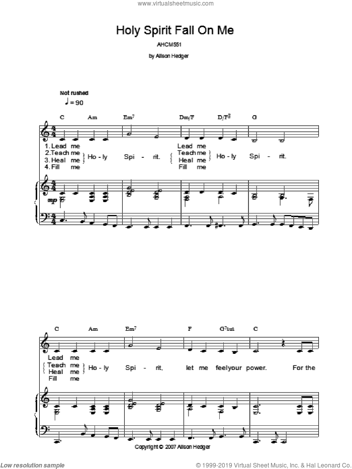 Holy Spirit Fall On Me sheet music for voice, piano or guitar by Alison Hedger. Score Image Preview.