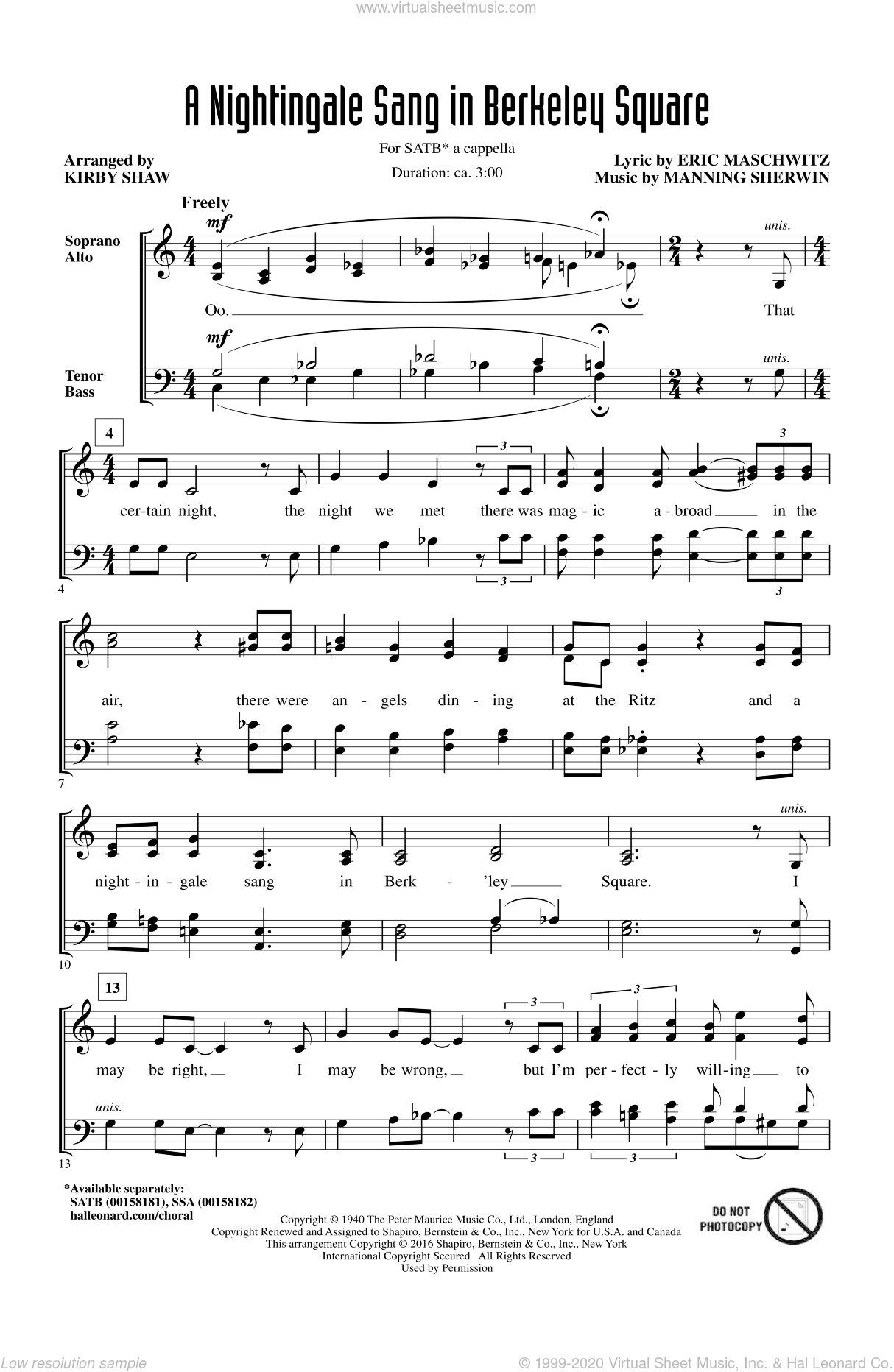 A Nightingale Sang In Berkeley Square sheet music for choir (SATB: soprano, alto, tenor, bass) by Kirby Shaw, Manhattan Transfer, Eric Maschwitz and Manning Sherwin, intermediate skill level