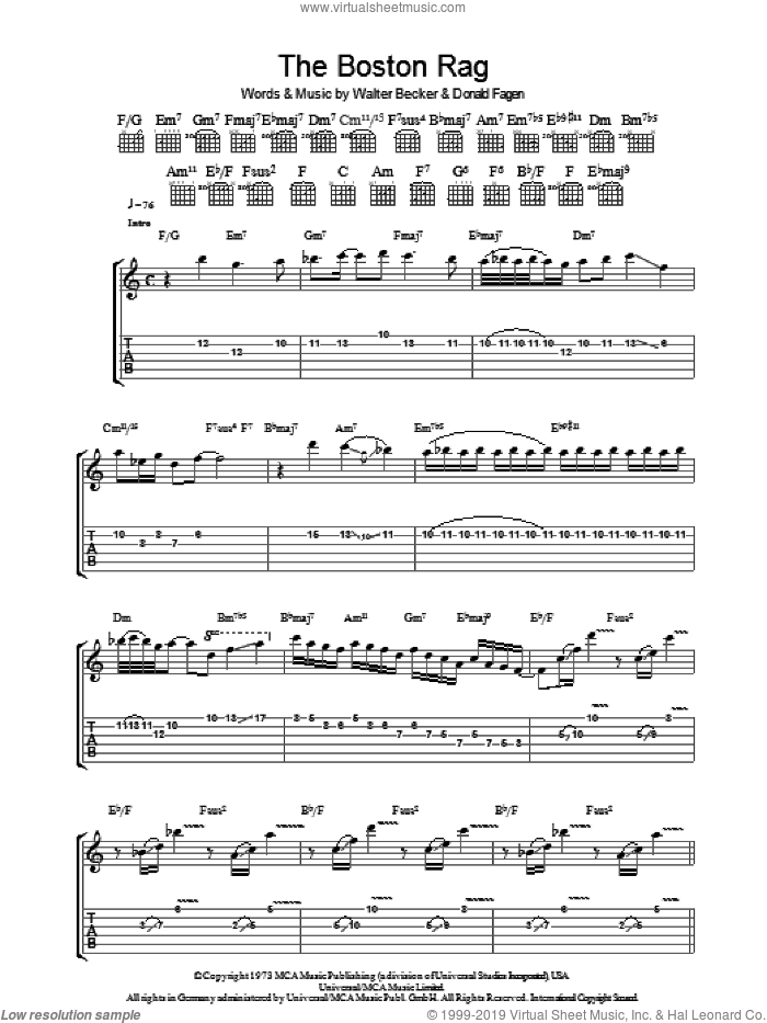 The Boston Rag sheet music for guitar (tablature) by Steely Dan, Donald Fagen and Walter Becker, intermediate skill level