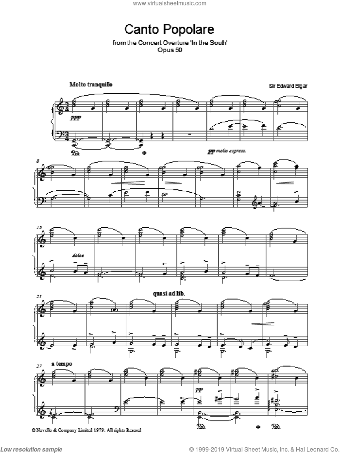 Canto Popolare (from In The South, Op.50) sheet music for piano solo by Edward Elgar, classical score, intermediate piano. Score Image Preview.
