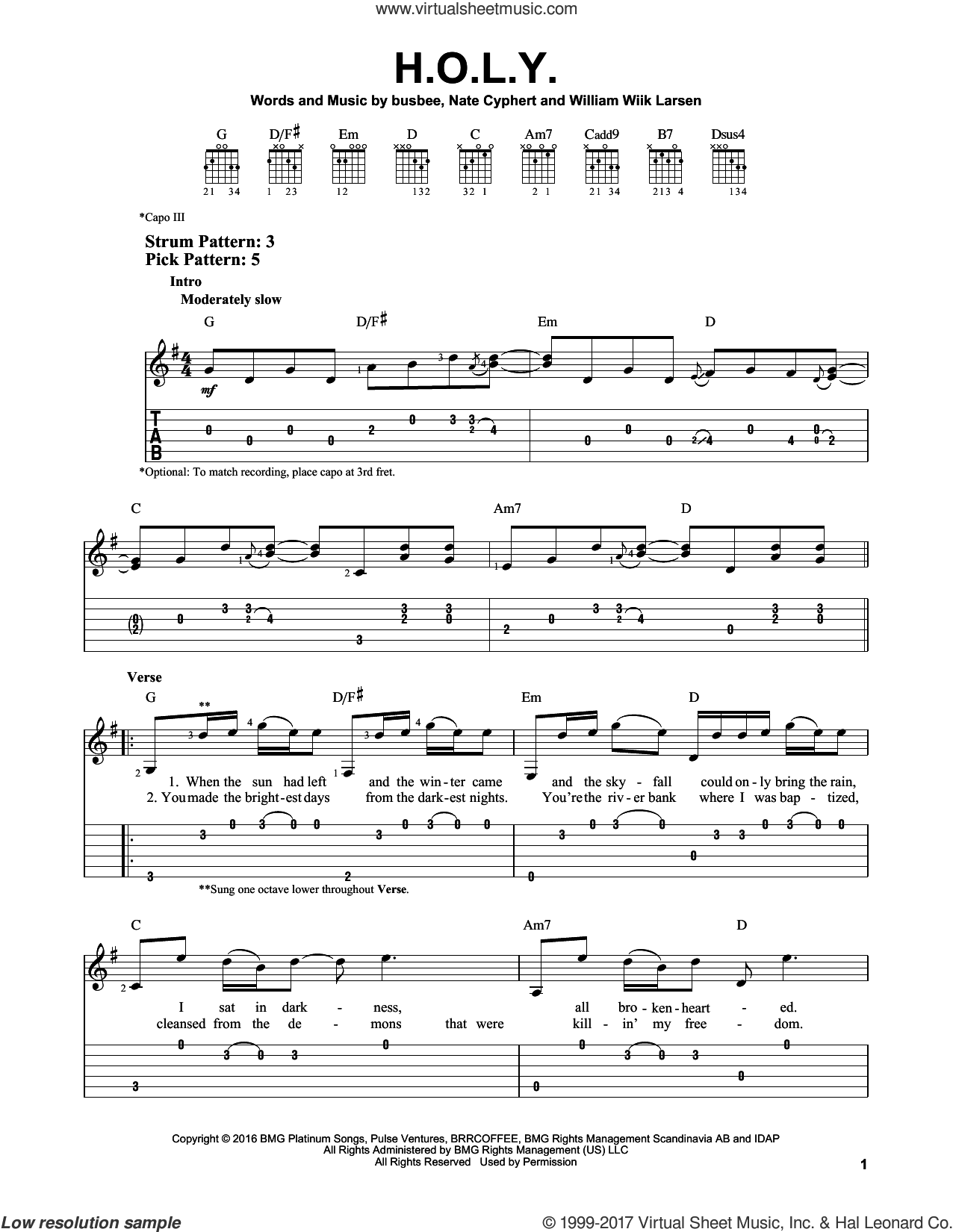 H.O.L.Y. sheet music for guitar solo (easy tablature) by Florida Georgia Line, busbee, Nate Cyphert and William Wiik Larsen, easy guitar (easy tablature)