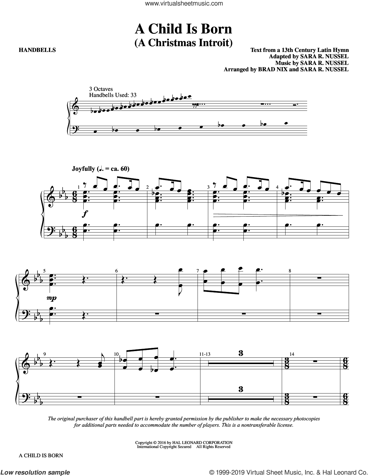 A Child Is Born sheet music for orchestra/band (handbells) by Brad Nix, 13th Century Latin Text, Sara R. Nussel and Sara R. Nussel (adapt.), intermediate skill level