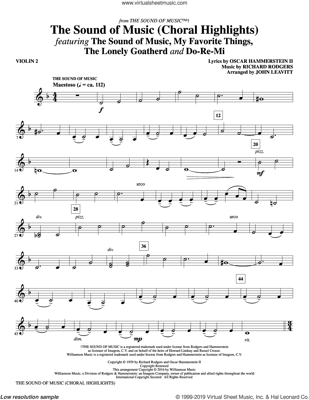 The Sound Of Music (Choral Highlights) (arr. John Leavitt) sheet music for orchestra/band (violin 2) by Rodgers & Hammerstein, John Leavitt, Oscar II Hammerstein and Richard Rodgers, intermediate skill level