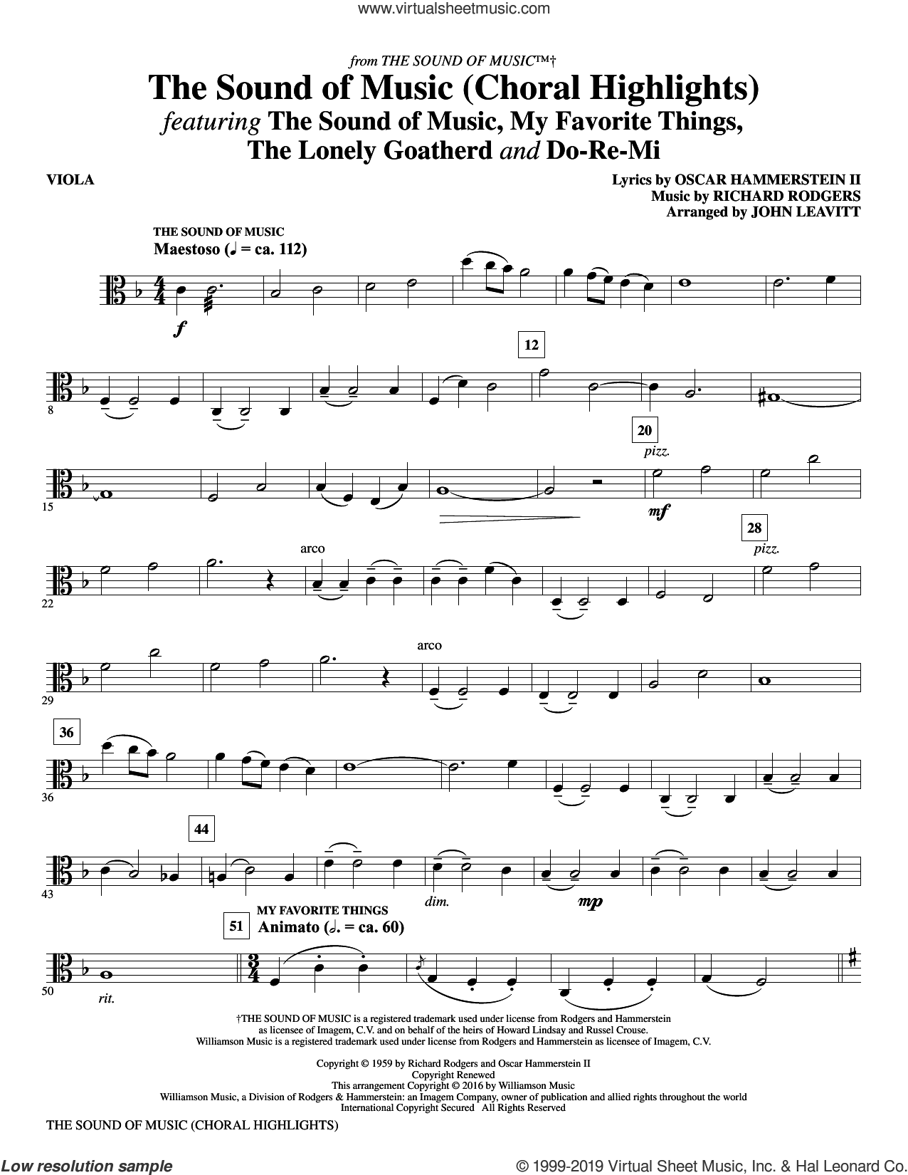 The Sound Of Music (Choral Highlights) (arr. John Leavitt) sheet music for orchestra/band (viola) by Rodgers & Hammerstein, John Leavitt, Oscar II Hammerstein and Richard Rodgers, intermediate skill level